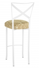 Simply X White Barstool with Ravena Chenille Boxed Cushion