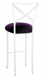 Simply X White Barstool with Deep Purple Velvet