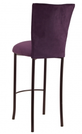 Lilac Suede Barstool Cover and Cushion on Brown Legs