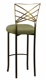 Two Tone Fanfare Barstool with Olive Velvet Cushion