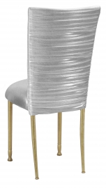 Chloe Metallic Silver on White Foil Chair Cover and Cusion on Gold Legs