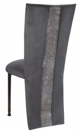 Charcoal Suede Jacket with Rhinestone Center and Cushion on Mahogany Legs