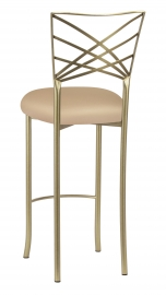 Gold Fanfare Barstool with Beige Knit Cushion