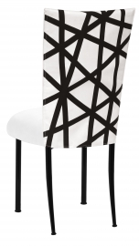 FWY Chair Cover with White Suede Cushion on Black Legs
