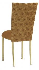 Gold Circle Ribbon Taffeta Chair Cover with Gold Velvet Cushion on Gold Legs