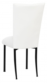 White Leatherette Chair Cover and Cushion on Black Legs