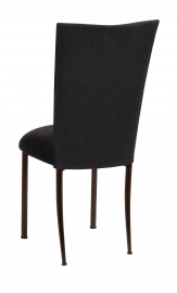 Black Suede Chair Cover and Cushion on Brown Legs