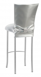 Silver Patent Barstool 3/4 Chair Cover with Rhinestone Accent Belt and Metallic Silver Stretch Knit Cushion on Silver Legs