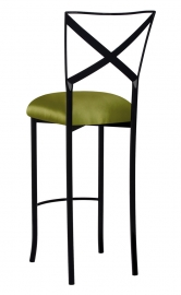 Blak. Barstool with Lime Satin Cushion