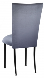 Steel Velvet Chair Cover and Cushion on Black Legs