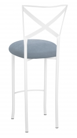 Simply X White Barstool with Ice Blue Suede Cushion