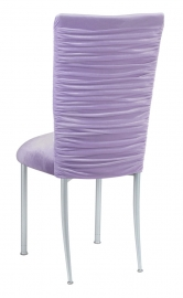 Chloe Lavender Velvet Chair Cover and Cushion on Silver Legs