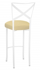 Simply X White Barstool with Buttercup Suede Boxed Cushion