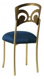 Gold Fleur de Lis with Midnight Blue Taffeta Boxed Cushion