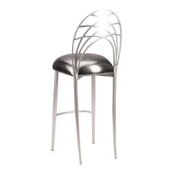 Silver Piazza Barstool with Gunmetal Stretch Knit Cushion