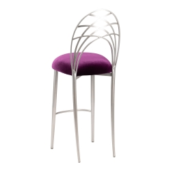 Silver Piazza Barstool with Eggplant Velvet Cushion