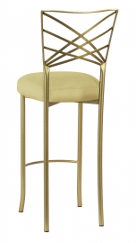 Gold Fanfare Barstool with Light Pear Taffeta Boxed Cushion