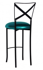 Blak. Barstool with Metallic Teal Stretch Knit Cushion