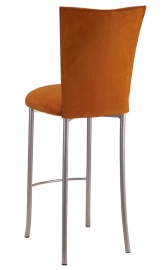 Copper Suede Barstool Cover and Cushion on Silver Legs