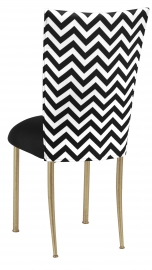 Chevron Chair Cover with Black Stretch Knit Cushion on Gold Legs