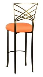 Two Tone Fanfare Barstool with Tangerine Stretch Knit Cushion
