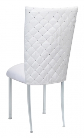White Diamond Tufted Taffeta Chair Cover with White Suede Cushion on Silver Legs