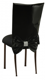 Black Patent Leather Chair Cover with Rhinestone Bow and Black Stretch Knit Cushion on Brown Legs