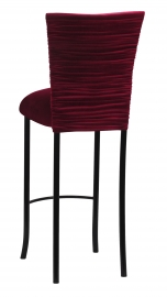 Cranberry Velvet Chloe Barstool Cover and Cushion on Black Legs
