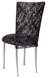 Silver X with Black Lace Chair Cover and Black Lace over Black Stretch Knit Cushion