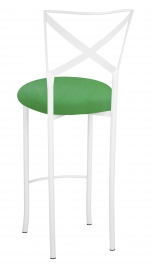 Simply X White Barstool with Kelly Green Stretch Knit Cushion
