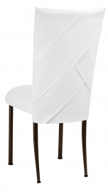 White Tiered Leatherette Chair Cover and Cushion on Brown Legs