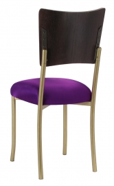Wood Back Top with Plum Stretch Knit Cushion on Gold Legs