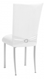 White Suede Chair Cover with Jewel Belt and Cushion on Silver Legs