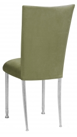 Sage Suede Chair Cover and Cushion on Silver Legs