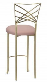 Gold Fanfare Barstool with Blush Knit Cushion