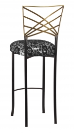 Two Tone Gold Fanfare Barstool with Black Camisole Lace over Metallic Silver Stretch Knit Cushion