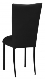 Black Velvet Chair Cover and Cushion on Black Legs