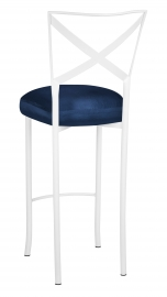 Simply X White Barstool with Midnight Blue Taffeta Boxed Cushion
