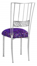 Silver Bella Fleur with Purple Paint Splatter Knit Cushion