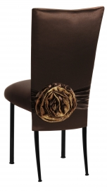 Brown Satin 3/4 Chair Cover with Rosette and Cushion on Black Legs