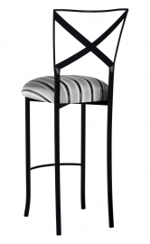 Blak. Barstool with Charcoal Stripe Cushion
