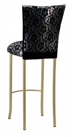 Black Camisole Lace over Metallic Silver Stretch Knit Barstool Cover and Cushion on Gold Legs