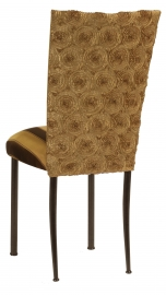 Gold Circle Ribbon Taffeta Chair Cover with Gold and Brown Stripe Cushion on Brown Legs