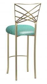Gold Fanfare Barstool with Mermaid Knit Cushion