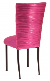 Chloe Metallic Fuchsia Stretch Knit Chair Cover and Cushion on Brown Legs