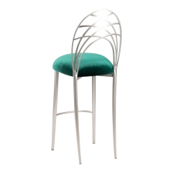 Silver Piazza Barstool with Green Velvet Cushion