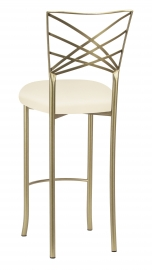 Gold Fanfare Barstool with Ivory Knit Cushion