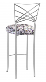 Silver Fanfare Barstool with White Paint Splatter Knit Cushion
