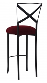 Blak. Barstool with Cranberry Velvet Cushion