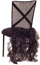 Ruffles with Willow Chair Cover and Black Stretch Knit Cushion on Black Legs